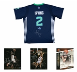 Lot of (4) Basketball & Football Signed Memorabilia Including Kyrie Irving Jersey & Photo, Julius Erving Photo & Johnny Manziel Photo (Panini & Beckett PreCert)