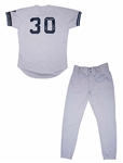 1995 Willie Randolph Game Used and Signed New York Yankees Road Coaches Uniform Pants and Jersey with Mickey Mantle Memorial Arm Band (Randolph LOA)