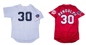 Lot of (2) 1997 Willie Randolph Game Used and Signed All Star Game BP Jersey and New York Yankees Home Coaches Jersey (Randolph LOA)
