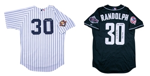 Lot of (2) 2001 Willie Randolph Game Used and Signed All Star Game Seattle New York Yankees Home Jersey and BP Jersey (Randolph LOA)