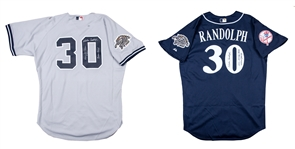 Lot of (2) 2002 Willie Randolph Game Used and Signed All Star Game Milwaukee New York Yankees Road Jersey and BP Jersey (Randolph LOA)