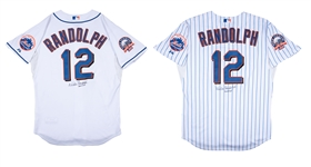 Lot of (2) 2008 Willie Randolph Game Used and Signed New York Mets Home and All White Alternate Manager Jerseys - Final Season (Randolph LOA)