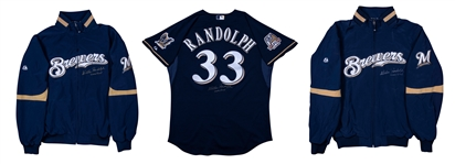 Lot of (3) 2010 Willie Randolph Game Used and Signed Milwaukee Brewers Coaches Alternate Jersey, Windbreaker and Cold Weather Jacket (Randolph LOA)