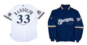 Lot of (2) 2010 Willie Randolph Game Used and Signed Milwaukee Brewers Coaches Home Jersey and Cold Weather Jacket (Randolph LOA)