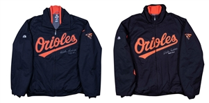 Lot of (2) 2011 Willie Randolph Game Used and Signed Baltimore Orioles Windbreaker and Cold Weather Jacket (Randolph LOA)