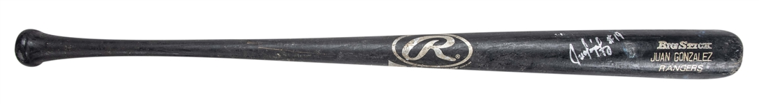 1997 Ivan Rodriguez Game Used Juan Gonzalez Rawlings 484A Bat Signed By Gonzalez (Randolph LOA, PSA/DNA & JSA)