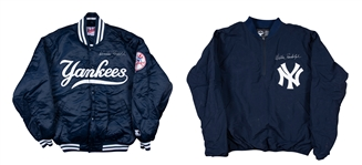 Lot of (2) Willie Randolph Game Used and Signed New York Yankees Windbreaker and Cold Weather Jacket (Randolph LOA)