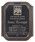 2007 The Boy of Steel Babe Ruth Award Presented to Willie Randolph (Randolph LOA)