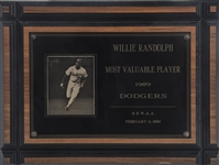 1989 Los Angeles Dodgers Most Valuable Player Award Presented to Willie Randolph (Randolph LOA)