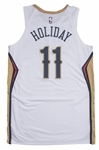 2018-19 Jrue Holiday Game Used New Orleans Pelicans Assocation Jersey Photo Matched To 10/17/18 (MeiGray & Resolution Photomatching)