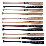 Lot of (11) Signed Game Model Bats With Alex Rodriguez, Rickey Henderson & Vladimir Guerrero From The Willie Randolph Collection (Randolph LOA & Beckett PreCert)