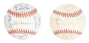 Lot of (2) 1998 World Series Team Signed Baseballs (Yankees & Padres) From The Willie Randolph Collection ( Beckett PreCert)
