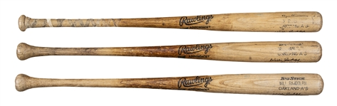 Lot of (3) 1990 Willie Randolph Game Used, Signed & Inscribed Oakland Athletics Rawlings Bats From The Willie Randolph Collection (Randolph LOA)