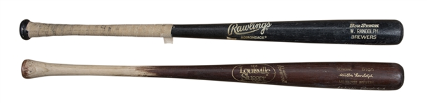 Lot of (2) 1991 Willie Randolph Game Used, Signed & Inscribed Milwaukee Brewers Bats From The Willie Randolph Collection (Randolph LOA)