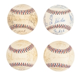 Lot of (4) 1999-2000 Team Signed All Star Baseballs With Derek Jeter & Ken Griffey Jr. (Randolph LOA & Beckett PreCert)