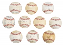 Lot of (10) 1980s-90s Buck Showalter and Lou Piniella Era New York Yankees Team Signed Baseballs from the Willie Randolph Collection (Randolph LOA & Beckett PreCert)