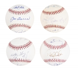 Lot of (4) New York Yankees Coaches & Captains Multi-Signed Baseballs From The Willie Randolph Collection (Randolph LOA & Beckett PreCert)