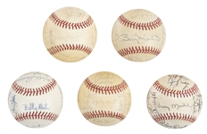 Lot of (5) 1970s-80s Billy Martin Era New York Yankees Team Signed Baseballs from the Willie Randolph Collection (Randolph LOA & Beckett PreCert)