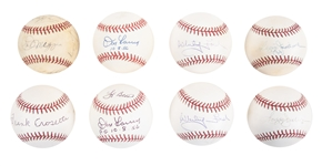 Lot of (8) New York Yankees Old Timers and Greats Signed Baseballs with Joe DiMaggio from the Willie Randolph Collection (Randolph LOA & Beckett PreCert)
