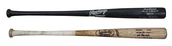 Lot of (2) 1992 Willie Randolph Game Used & Signed New York Mets Pro Model Bats (Randolph LOA)