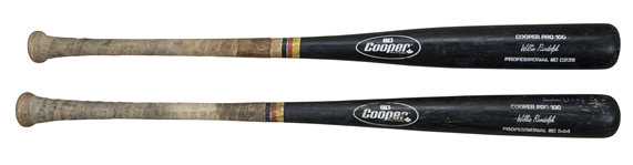 Lot of (2) Willie Randolph Game Used & Signed Cooper Professional Model Bats (Randolph LOA)