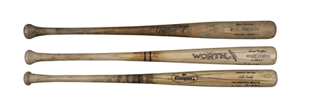 Lot of (3) Willie Randolph Game Used & Signed Assorted Name Variation Pro Model Bats (Randolph LOA)
