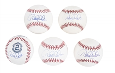 Lot of (5) Derek Jeter Signed OMLB Baseballs from the Willie Randolph Collection (Randolph LOA & Beckett PreCert)