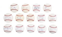 Lot of (14) 1990s Yankees Signed Baseballs including Mariano Rivera and Joe Torre from the Willie Randolph Collection (Randolph LOA & Beckett PreCert)