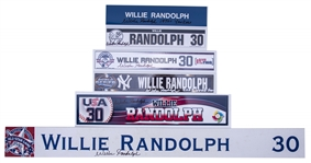 Lot of (6) Willie Randolph Game Used & Signed Locker Room Nameplates With Rookie Season & World Series (Randolph LOA)
