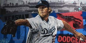 Clayton Kershaw Signed Stephen Holland Artwork on 42x21 Stretch Canvas - PP 1/10 (Beckett)