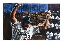 Kirk Gibson Signed Stephen Holland Artwork on 42x27 Stretched Canvas - 38/88 (Beckett)