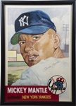 1953 Topps Mickey Mantle Signed Original Pastel Drawing Framed to 26x36""