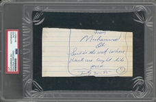 1985 Muhammad Ali Signed Handwritten Note (PSA/DNA & Beckett)