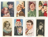 1925-39 Film Scene-Themed Tobacco Cards Complete Sets Collection (8 Different) Featuring Numerous Movie Superstars