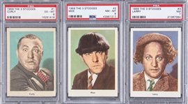 "1959 Fleer ""Three Stooges"" Portrait Cards PSA EX-MT 6 to PSA NM-MT 8 Trio (3 Different) – Including #s 1 Curly, 2 Moe and 3 Larry"
