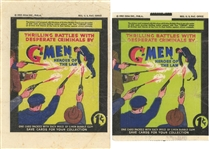 "1936 R60 Gum, Inc. ""G-Men & Heroes of the Law"" Green and White Background Wrappers Pair (2 Different)"
