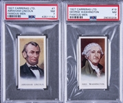 "1927 Carreras Ltd ""Famous Men"" U.S. Presidents PSA NM 7 Pair (2 Different) Including Washington and Lincoln"