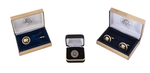 Lot of (3) White House Cufflinks, Staff Service Pin & Presidential Lapel Pin (White House Staff LOA)