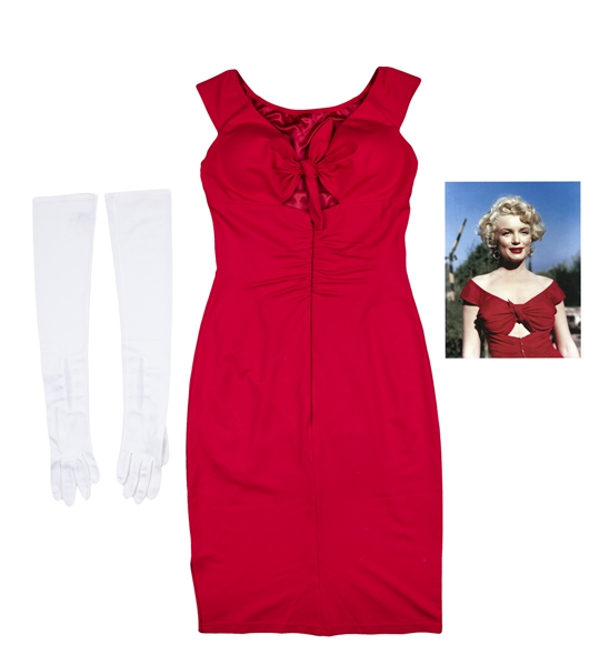 "Marilyn Monroe Personally Owned and Worn Red Dress and Long White Gloves (Eleanor ""Bebe"" Goddard Provenance With Beckett)"
