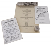 Lot of (3) Lunch and Dinner Menus From The Taj Mahal and Prairie Chapel Ranch Signed by George Bush and Other World Leaders (JSA Auction Letter)