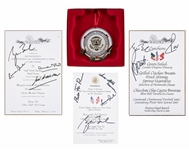 Lot of (4) Lunch and Dinner Menus From Prarie Chapel Ranch Signed by George Bush and Other World Leaders Plus Presidential Food Service Ornament (JSA Auction Letter)