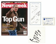 Lot of (4) Unique George Bush Items Including Signed Newsweek, Handwritten Notes Containing Bin Laden Security Threat Information and Identification Card (Sam Sutton LOA)