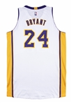 2014-15 Kobe Bryant Game Used Home Los Angeles Lakers White Alternate Jersey Photo Matched to 2 Games (Sports Investors Authentication)