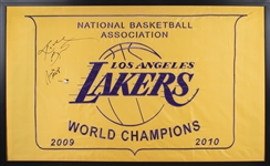 "2009-10 Kobe Bryant Signed Los Angeles Lakers Championship Banner With ""Finals MVP"" Inscription 36x59 Framed Display (#49/50) - 13.5"" Signature! (Panini)"