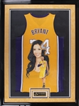 Kobe Bryant and Vanessa Bryant Dual Signed Hand Painted Los Angeles Lakers Jersey by Artist William Zavala In 39x52 Framed Display (Panini and Photo Proof)