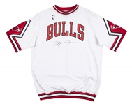 1987 Michael Jordan Signed Game Issued Chicago Bulls Warm Up Shirt (Sports Investors Authentication & JSA)