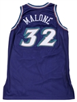 1998 Karl Malone NBA Finals Game Used Utah Jazz Road Jersey Used Vs. Chicago Bulls (MEARS A10, Equipment Manager LOA & Sports Investors Authentication)