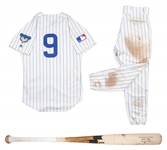 Lot of (2) 2019 Javier Baez Game Used Chicago Cubs 1969 Turn Back the Clock Home Uniform: Jersey & Pants With Game Used Bat (MLB Authenticated)