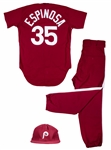 1979 Nino Espinosa Game Used Philadelphia Phillies Saturday Night Special Full Uniform (MEARS A10)