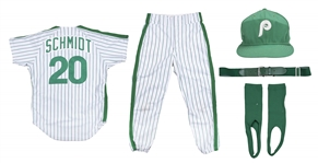 1986 Mike Schmidt Game Used & Signed Philadelphia Phillies St. Patricks Day Uniform: MVP Season - Jersey, Pants, Cap, Belt & Stirrups (SGC Superior & Beckett)